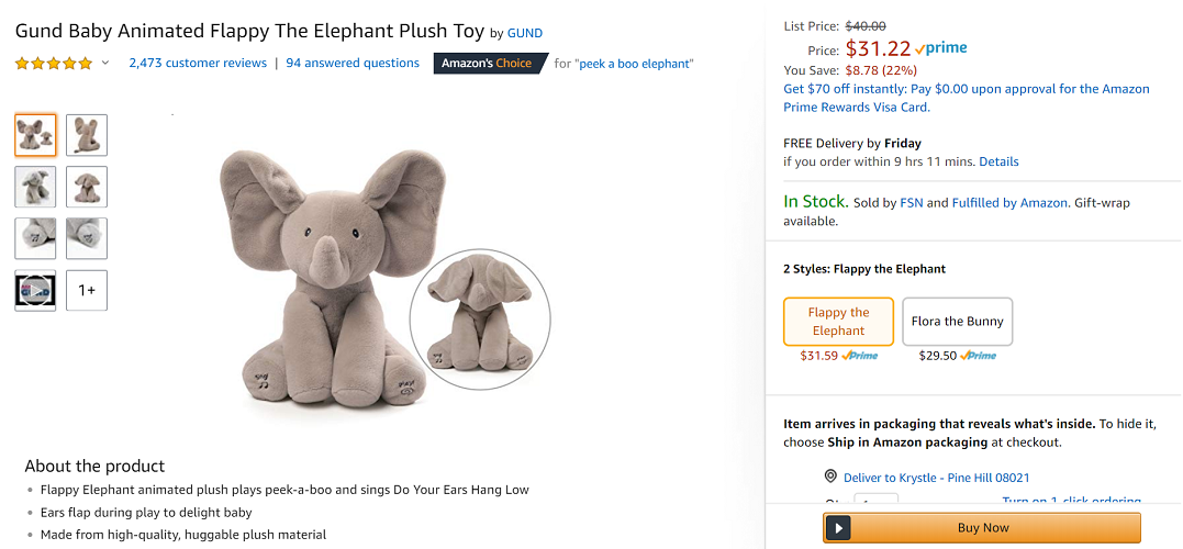 GUND Baby Animated Flappy the Elephant