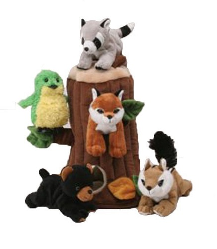 Plush Treehouse with Forest Animals - Five