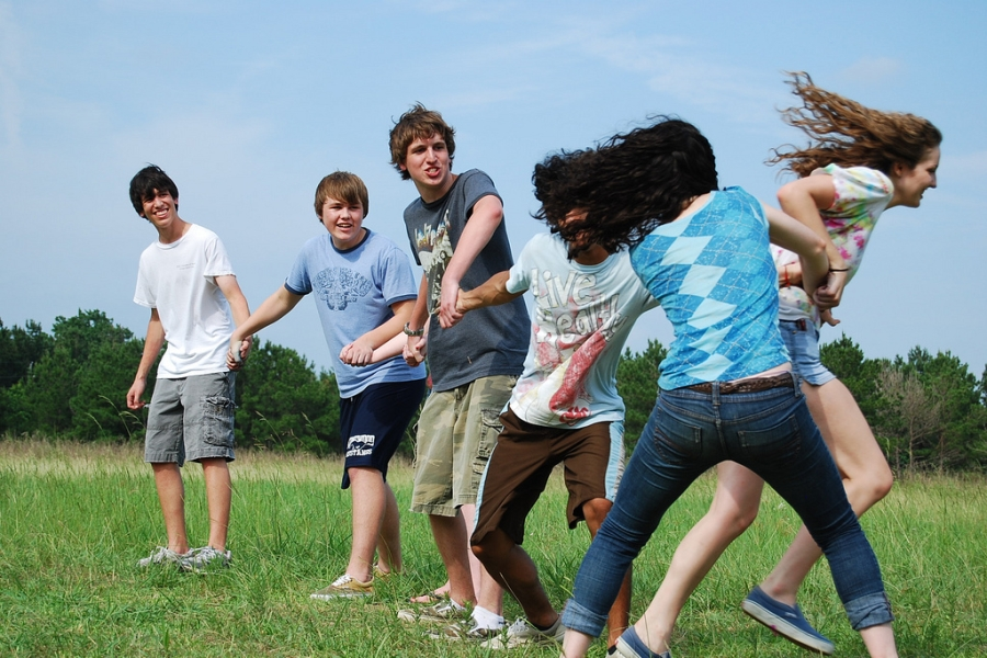 Youths Playing Red Rover