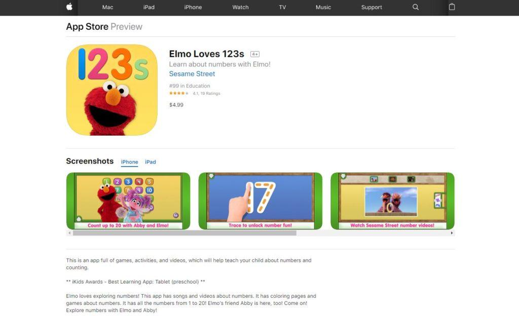 Educational Apps Elmo Loves 123S