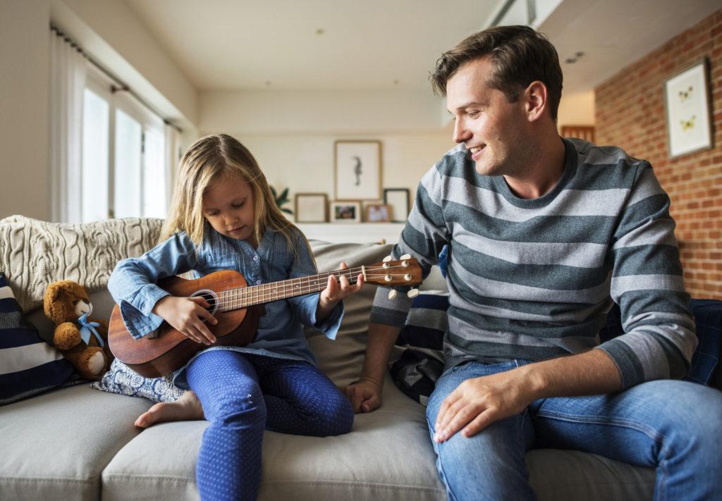 young girl ukulele