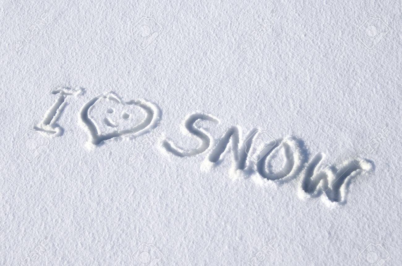 62925659 background image has handwritten message saying i love snow message is written on a fresh layer of s