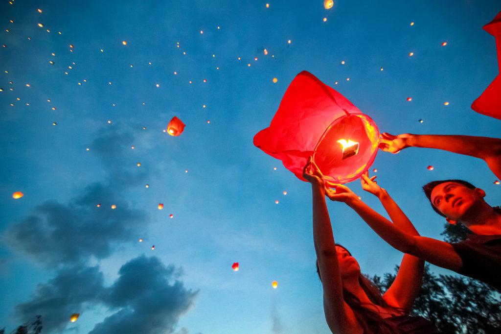 floating chinese lantern