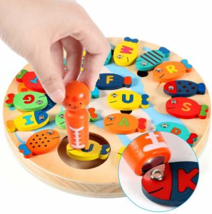 wooden magnetic fishing tool
