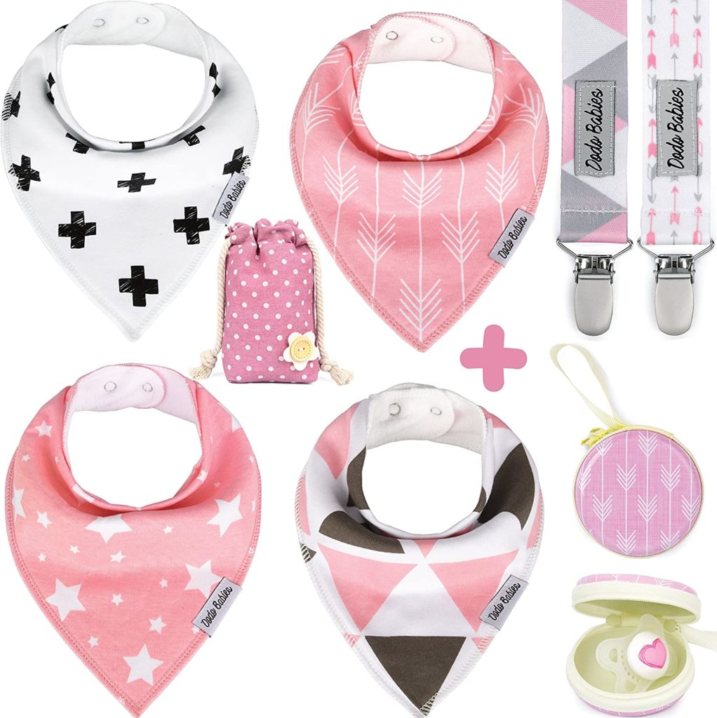 Baby gifts bibs, clips and pacifiers