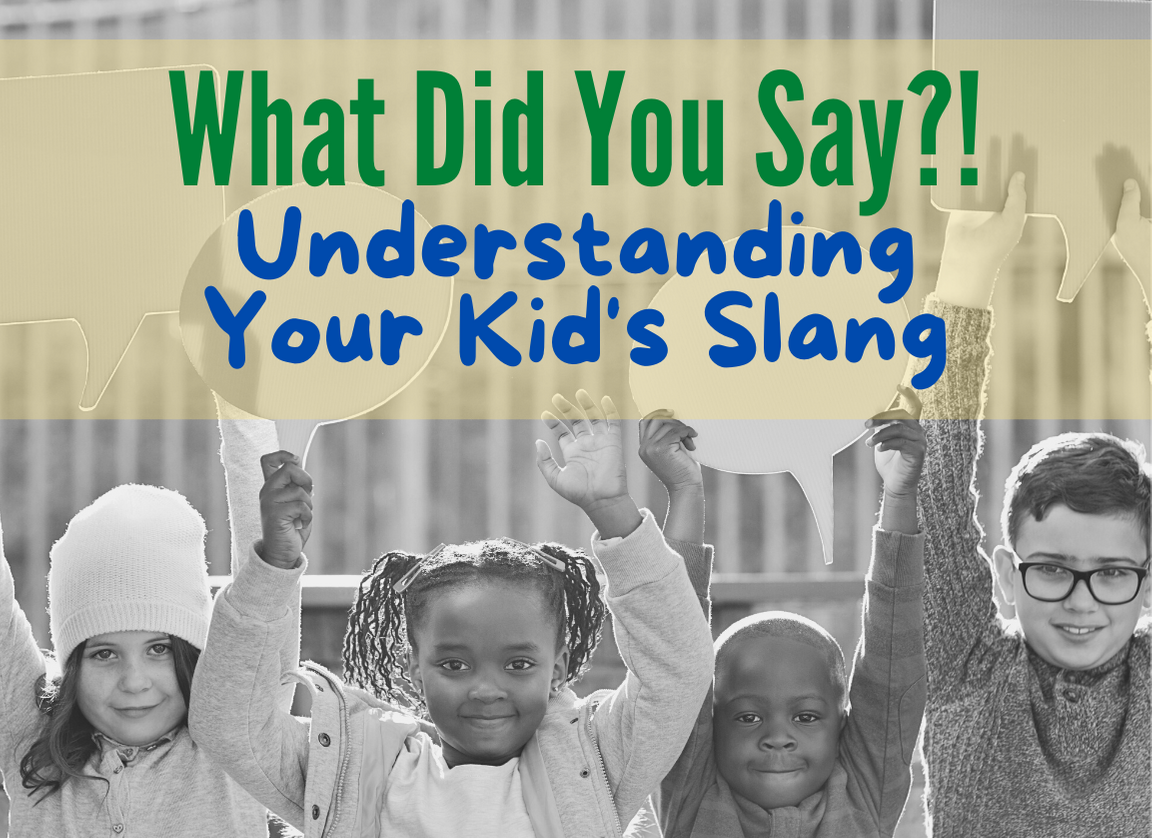Kids Slang - featured image of kids holding up conversation bubbles